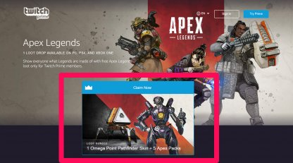 Visit Apex Legends Twitch Prime Page
