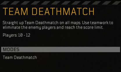 Team Deathmatch - Multiplayer Mode