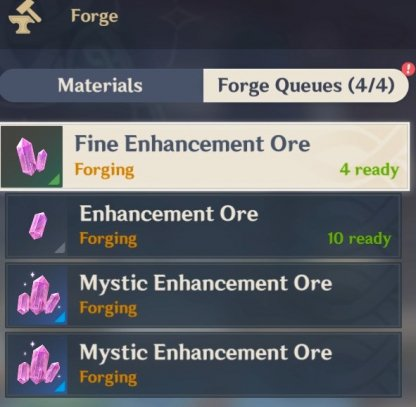 Forging Ore Up To 300,000 Weapon XP/Day