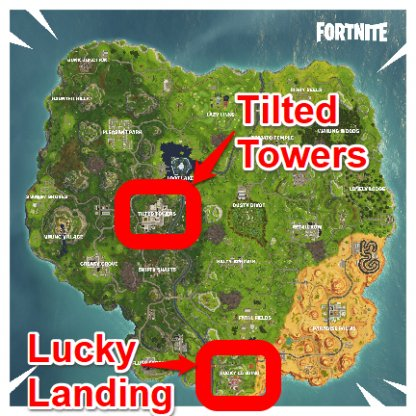 Fortnite Visit Lucky Landing And Tilted Towers In A Single Match