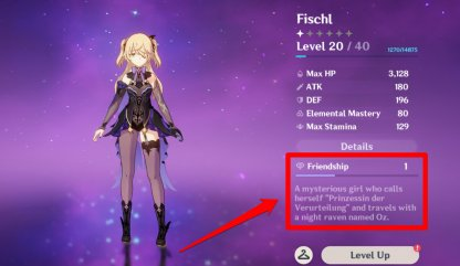 Friendship Level Found At Character Screen