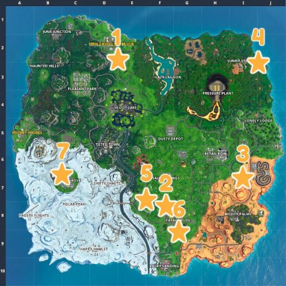 Season 10 Secret Battle Star Locations Map