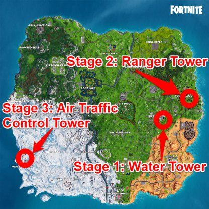 Water Tower, Ranger Tower, Air Traffic Control Tower Locations