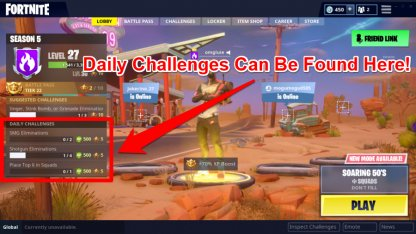 Access Daily Challenges In Lobby Screen