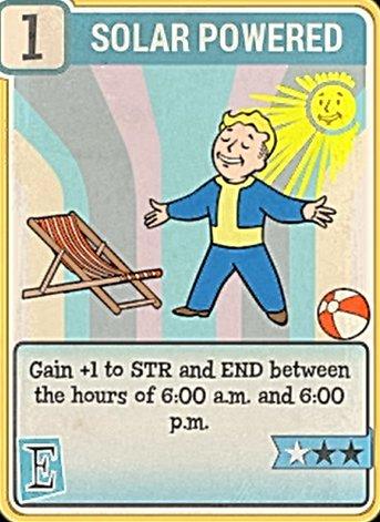 Fallout 76 Perk Card Endurance Solar Powered