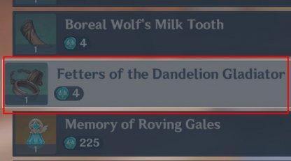 Fetters of the Dandelion Gladiator Buy