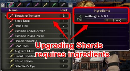 Ingredients Required To Upgrade Shards