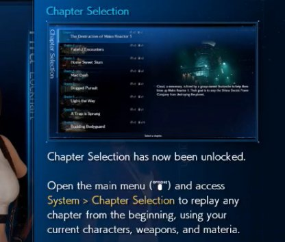 Replay by using Chapter Selection