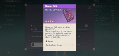 Use Character EXP Material
