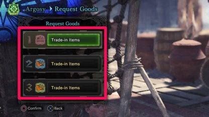 Request Trade-in Items From Argosy Captain