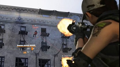 Shoot Enemies as They Rappel Down Building