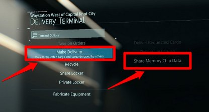 Use Delivery Terminal to Share Memory Chip Data