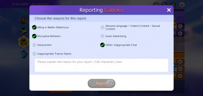 Things you can report on Pokemon Unite