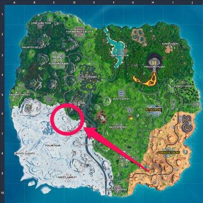 Basement Film Camera, Snowy Stone Head, & Gold Big Rig Challenge Map Location