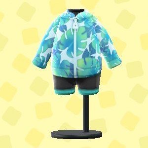 Leaf Pattern Wetsuit (Light Blue)