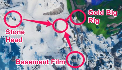 Basement Film Camera, Snowy Stone Head, & Gold Big Rig Challenge Birds Eye View