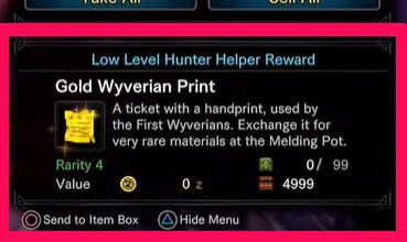 Get Wyverian Prints As Reward