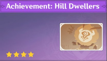 Complete To Get Achievement: Hill Dwelers Namecard