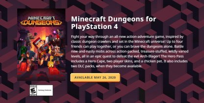 Minecraft Dungeons - PS4 Release Date