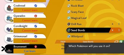Select Available Pokemon to Learn Move
