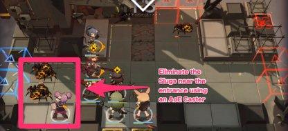 Eliminate the slugs near the entrance using an AoE caster