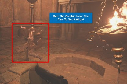 2. Bait Zombie Near Fire