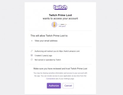 Authorize Twitch Prime To Access Your Account