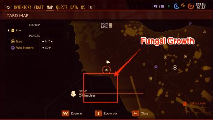 Fungal growth location map