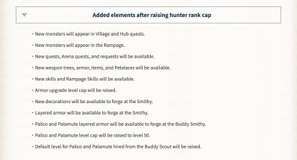 Hunter Rank (HR) Unlock Cap
