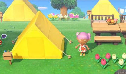 Player Tents Are Yellow & Triangular