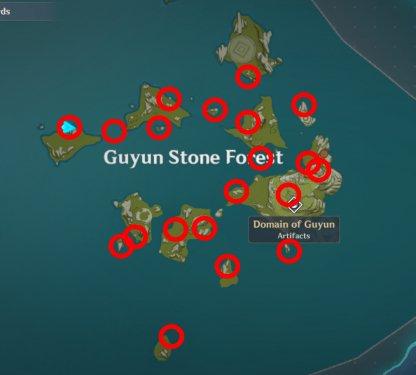 Guyun Meteorite Locations