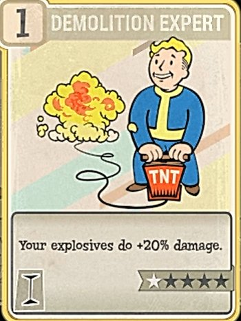 Fallout 76 Perk Card Intelligence Demolition Expert