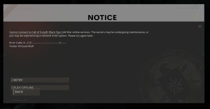 Cold War Launch Servers Errors