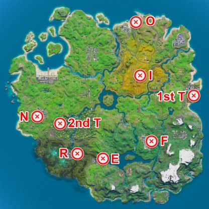 FORTNITE Letter Locations