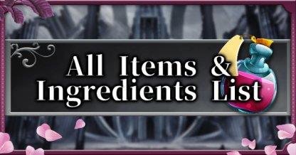 All Item & Ingredients List