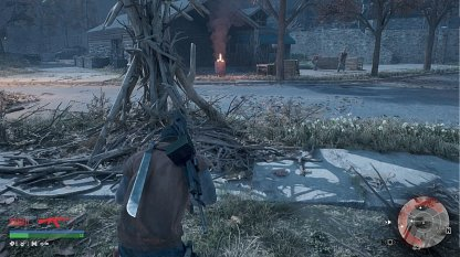 Path Leads To House With Flaming Barrel