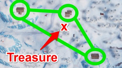 Search Between 3 Ski Lodges Treasure Location Map