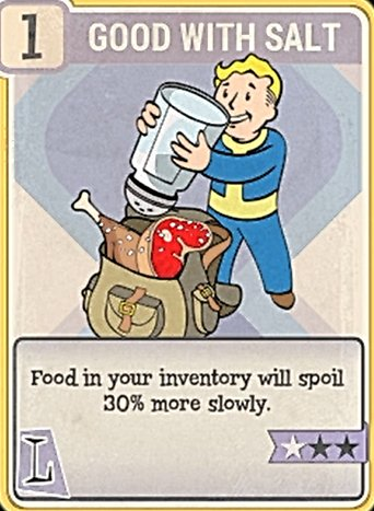 Fallout 76 Perk Card Luck Good with Salt