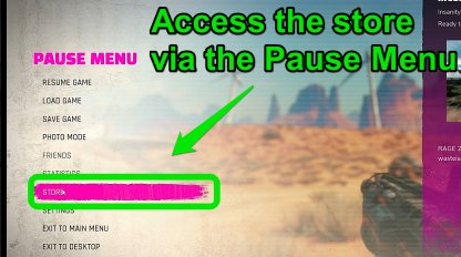 Access The Store Via The Pause Menu