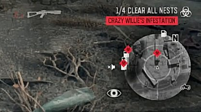 Nests are Marked by Red Biohazard Sign in Mini Map