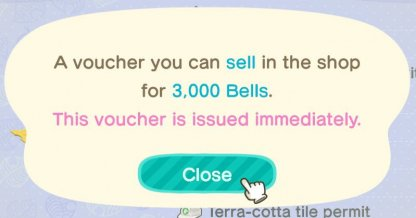 Exchange For 3,000 Bells In Nook