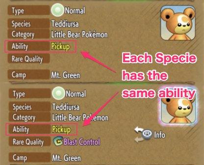 Each Specie has the same ability
