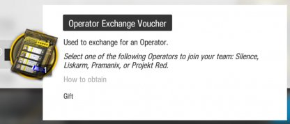 Operator Exchange Voucher to reinforce