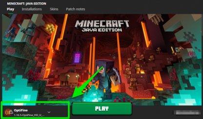 Select Optifine when running Minecraft