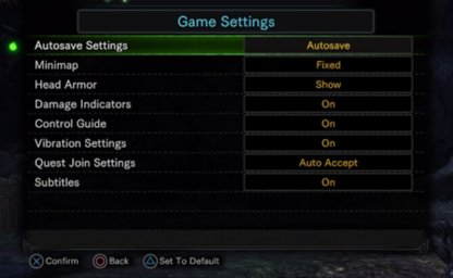 Gameplay Settings That Can Be Changed