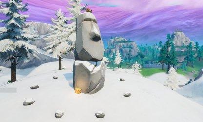 Stone Head Statue Location (Winter Biome) Close Up