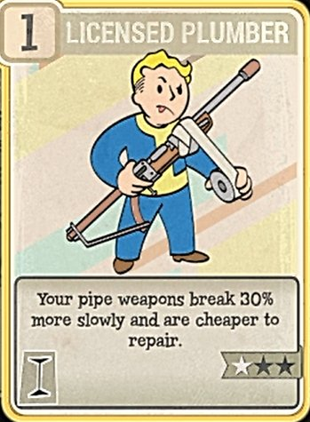 Fallout 76 Perk Card Intelligence Licensed Plumber