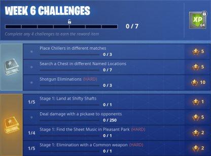 Fortnite Season 6 Week 6 Challenges