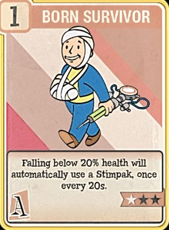 fallout 76 Perk Card Agility Born Survivor