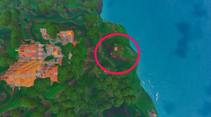 north east end of the map near sunny steps birds eye - fortnite faces in the jungle